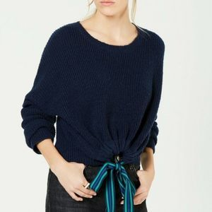 Crave Fame Cropped Ribbon Tie Pullover Navy XS